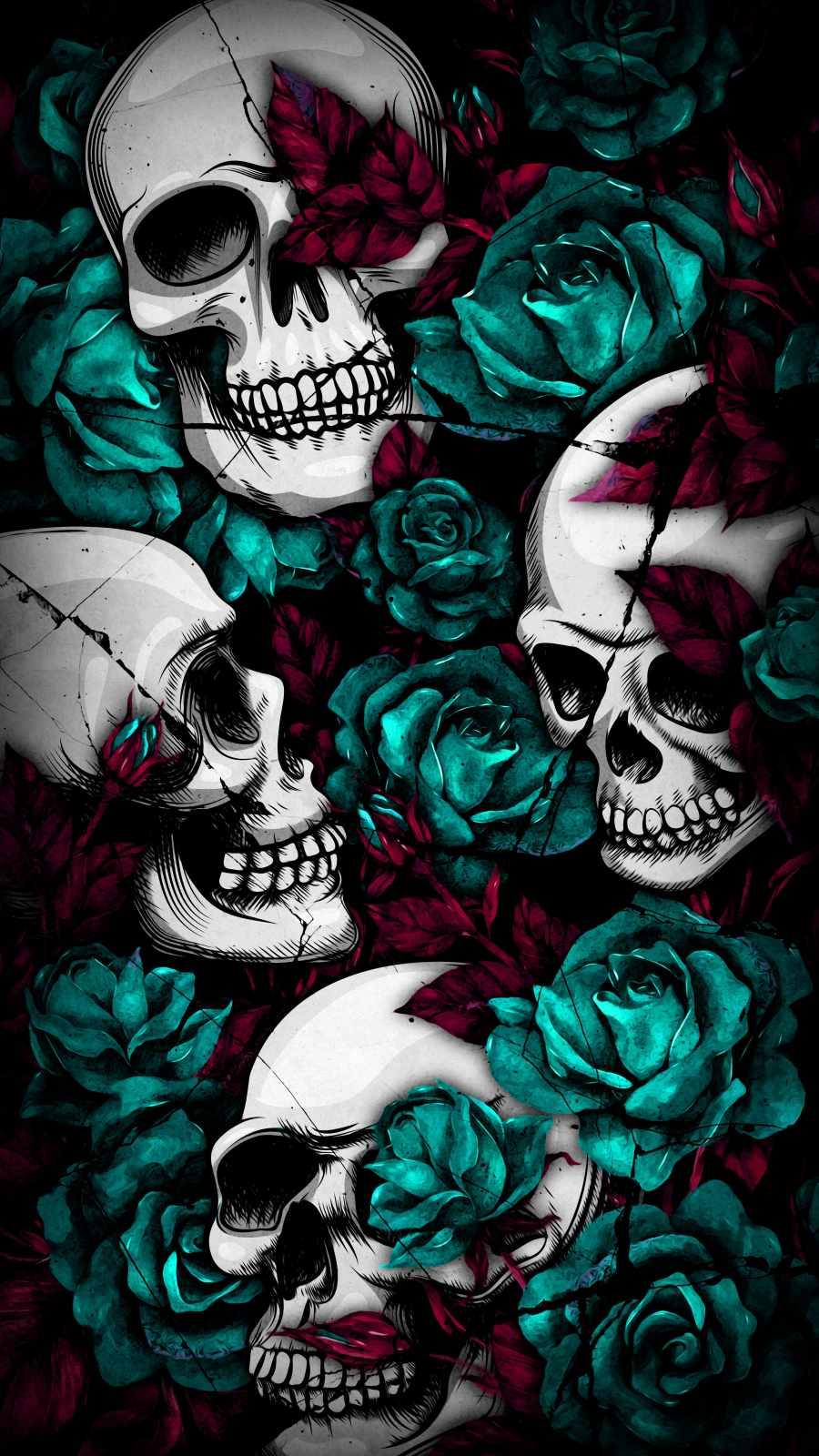 Skull Flowers Art