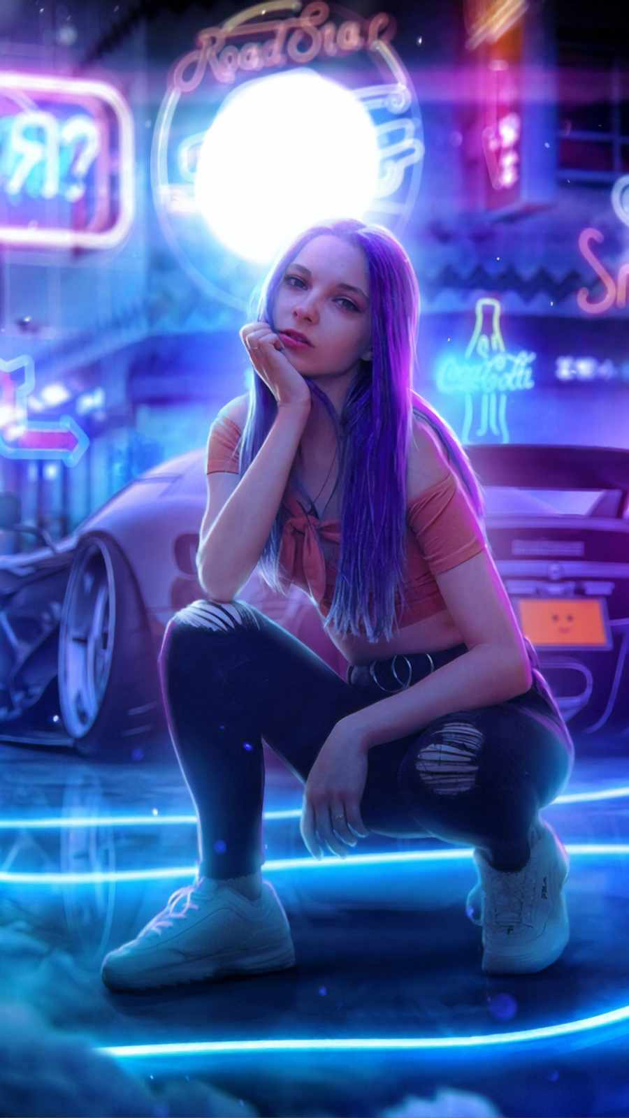 cyber girl with cars