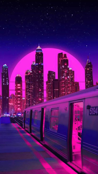 train neon synthwave buildings
