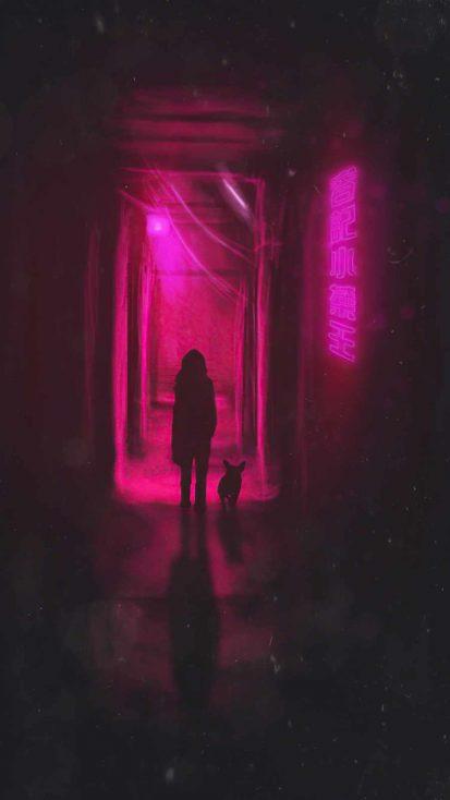 walking in neon alley