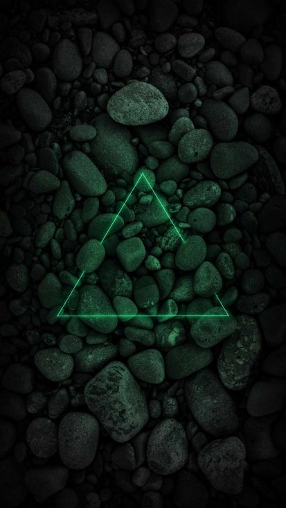 Neon Triangle over Stones
