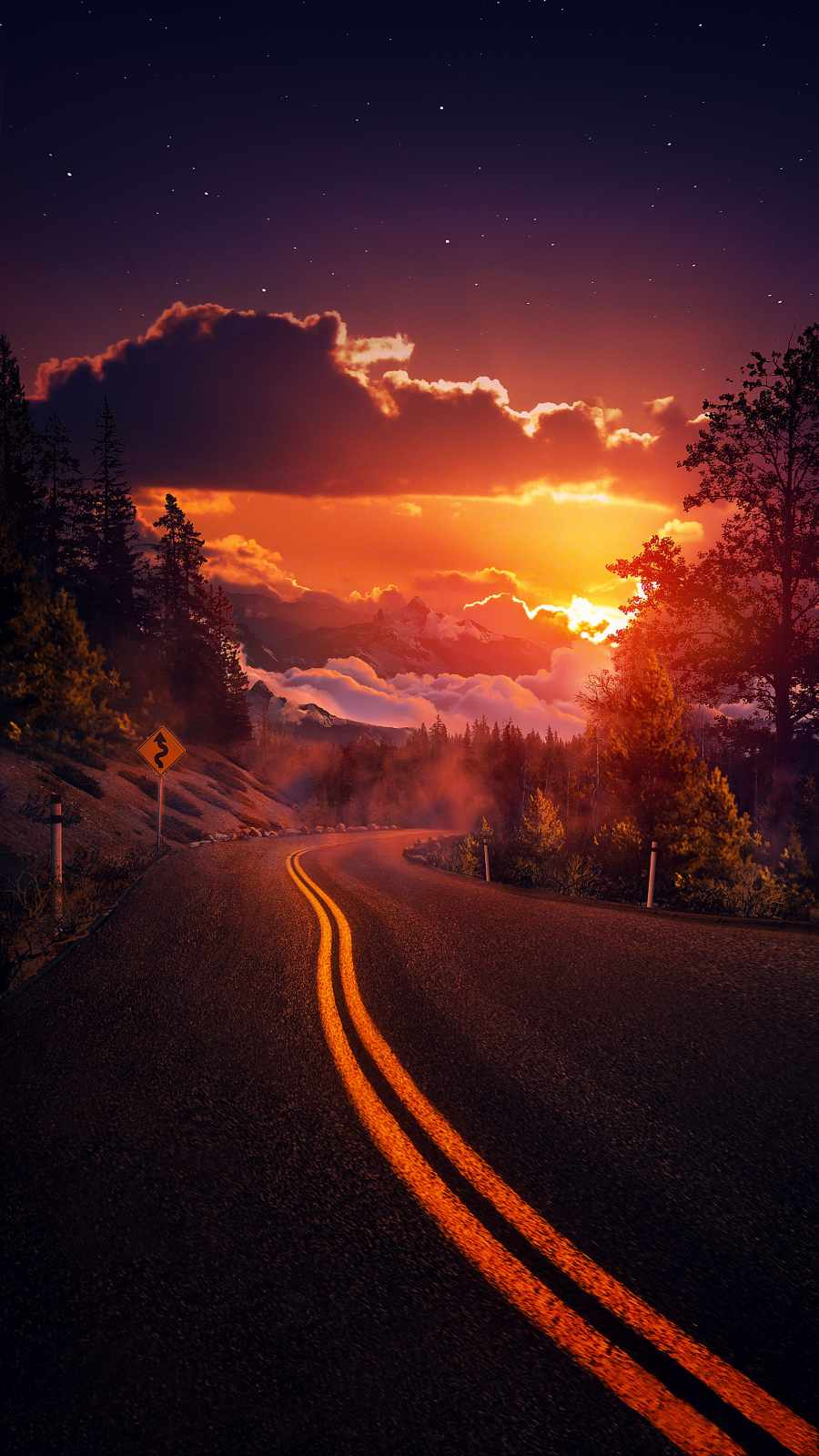 Sunset Cloudy Road