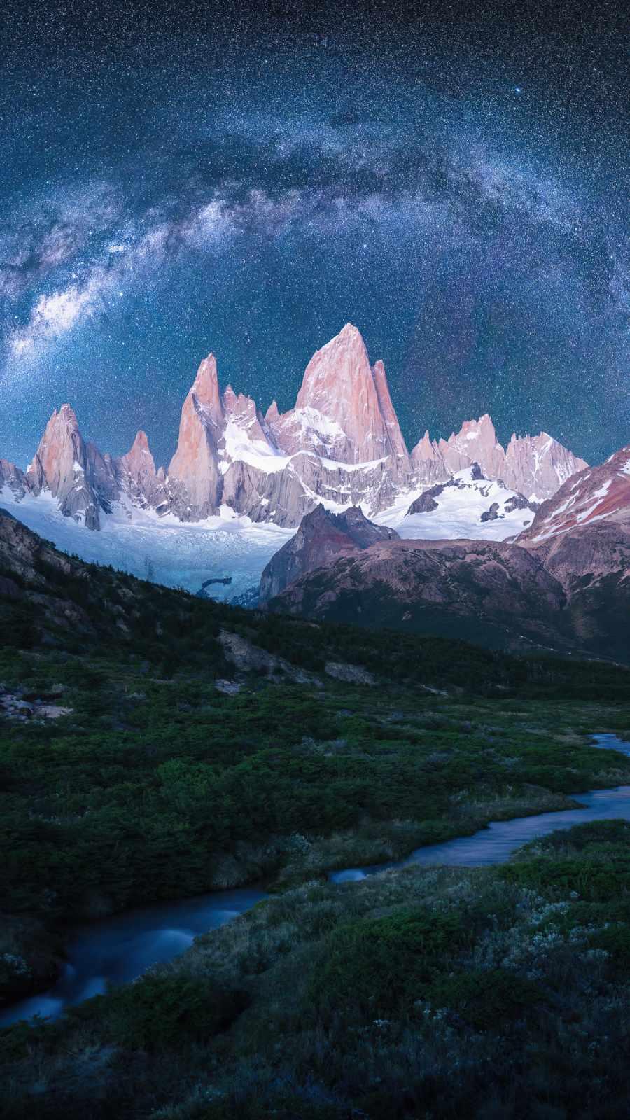 mountains snow stars galaxy