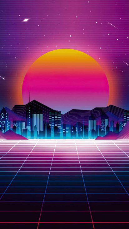 retro city sunset 4k