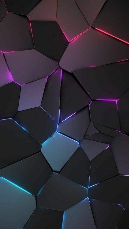 3D Geometric Neon iPhone Wallpaper