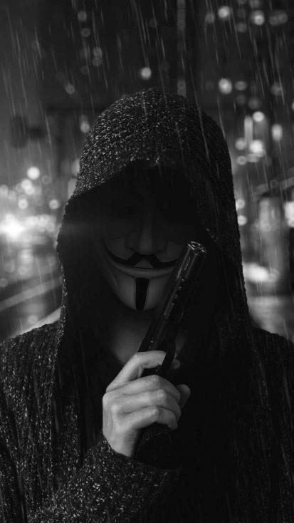 Anonymous Guy Gun iPhone Wallpaper