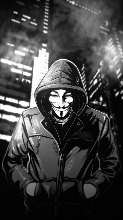 Anonymous Hoodie Guy iPhone Wallpaper