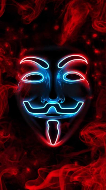 Anonymous Mask Neon iPhone Wallpaper