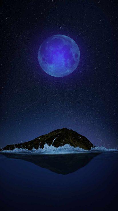 Big Moon Island iPhone Wallpaper