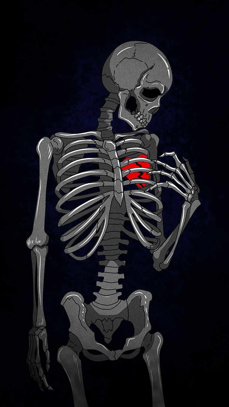 Broken Heart Skeleton iPhone Wallpaper