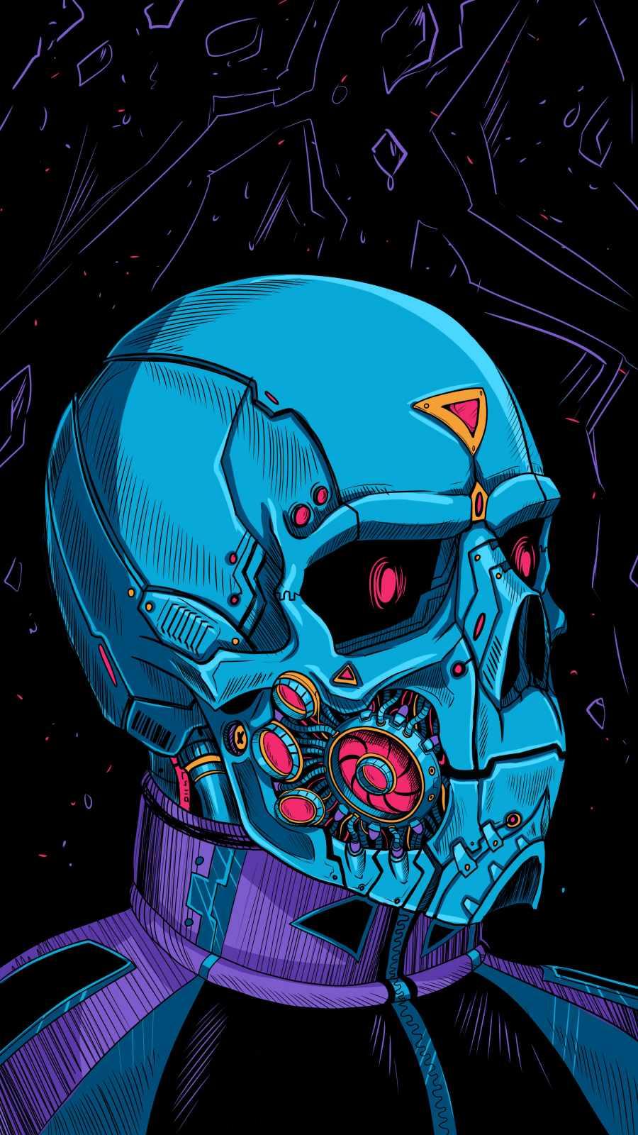 Cyborg Skull iPhone Wallpaper