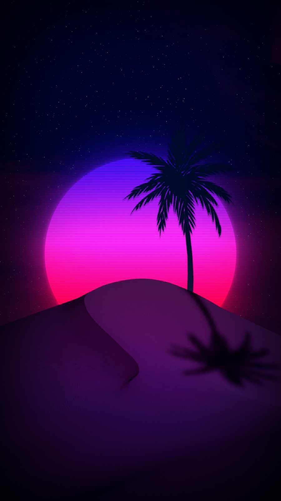 Desert Retro Moon iPhone Wallpaper