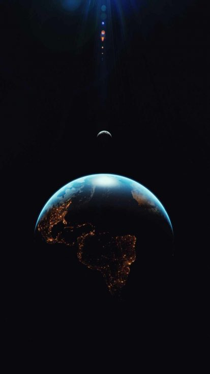 Earth in Dark iPhone Wallpaper