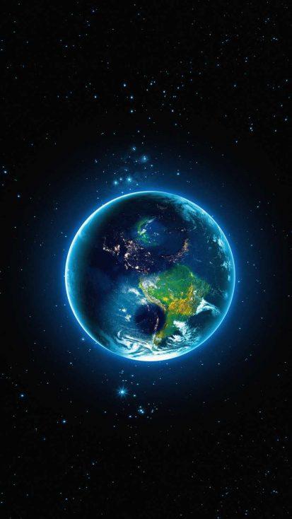 Glowing Earth iPhone Wallpaper