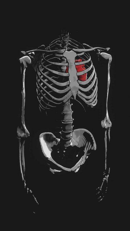 Heart in Skeleton iPhone Wallpaper