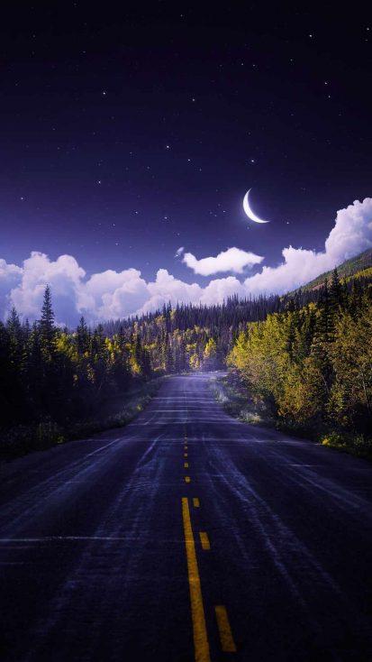 Moon Road iPhone Wallpaper