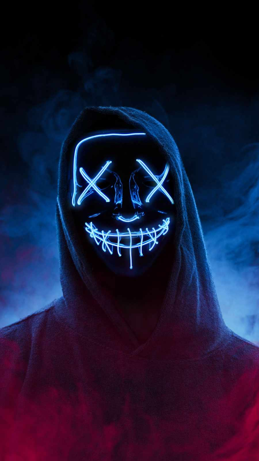 Neon Stitched Mask Hoodie Guy