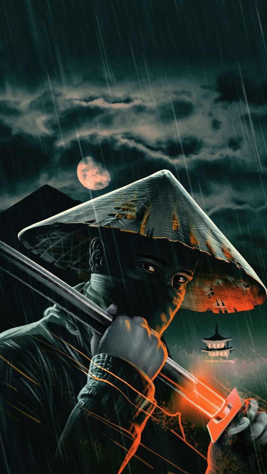 Night Samurai iPhone Wallpaper