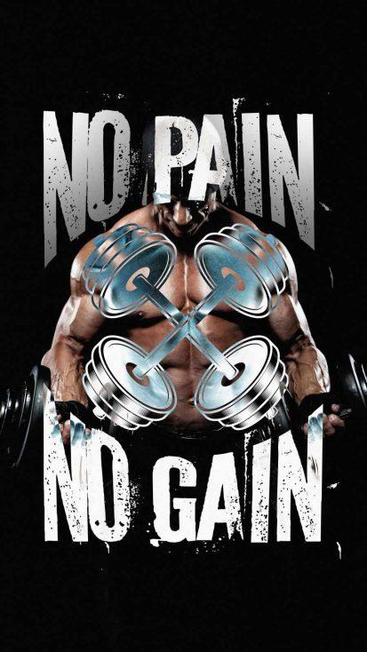 No Pain No Gain Fitness iPhone Wallpaper