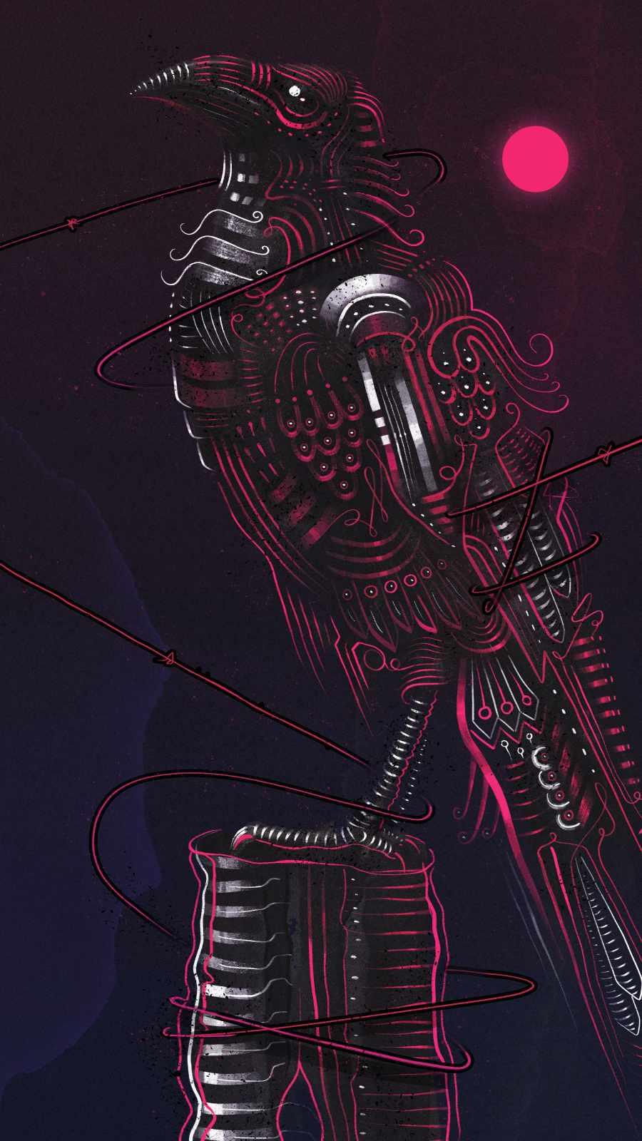 Raven Art iPhone Wallpaper