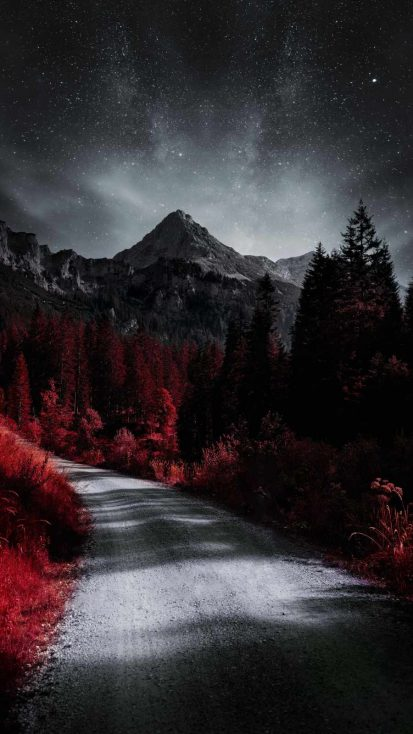 Red Forest Mountains iPhone Wallpaper