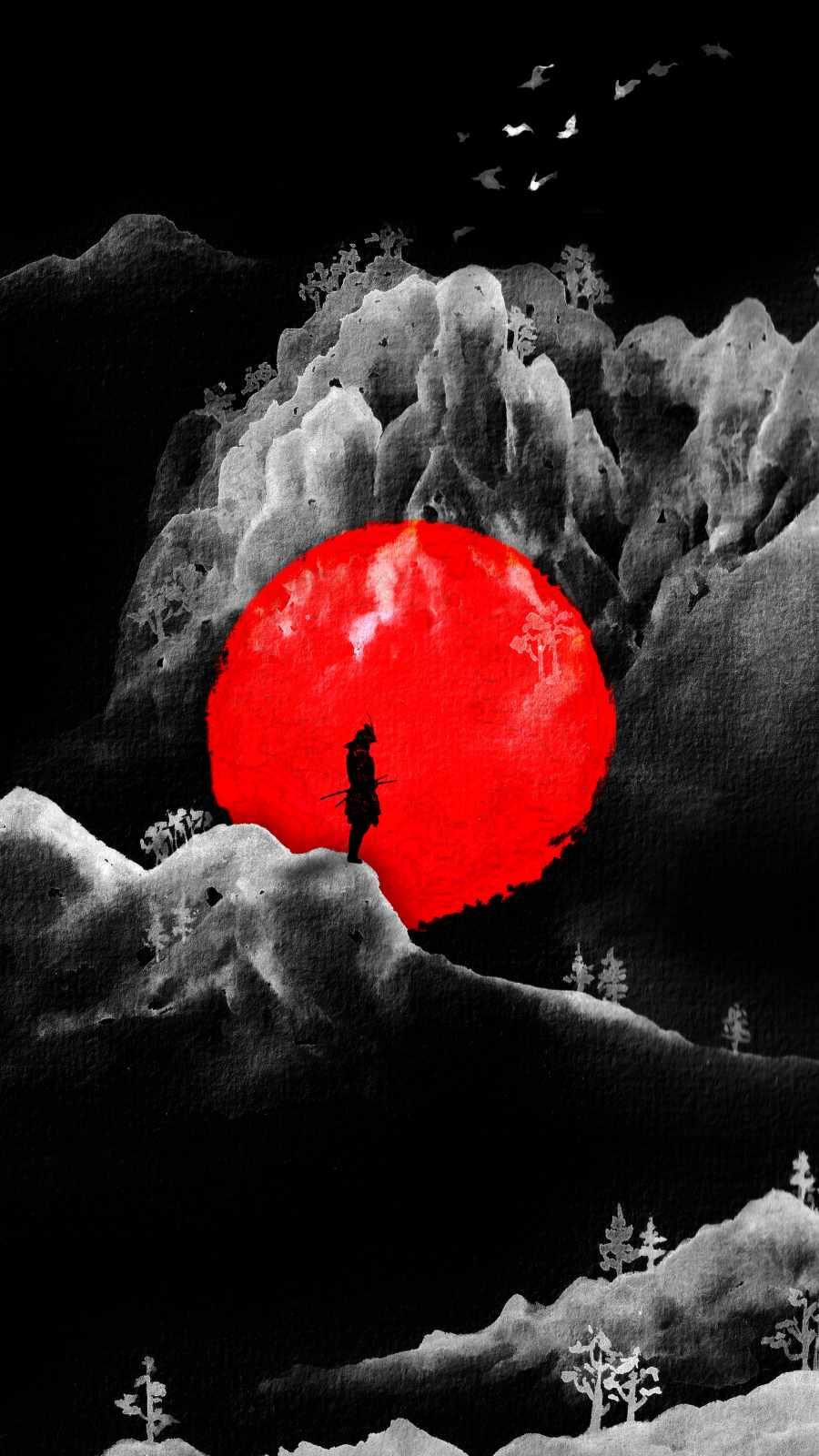 Samurai Art Red Moon iPhone Wallpaper