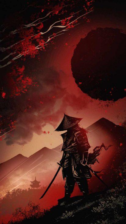 Samurai with Sword iPhone Wallpaper
