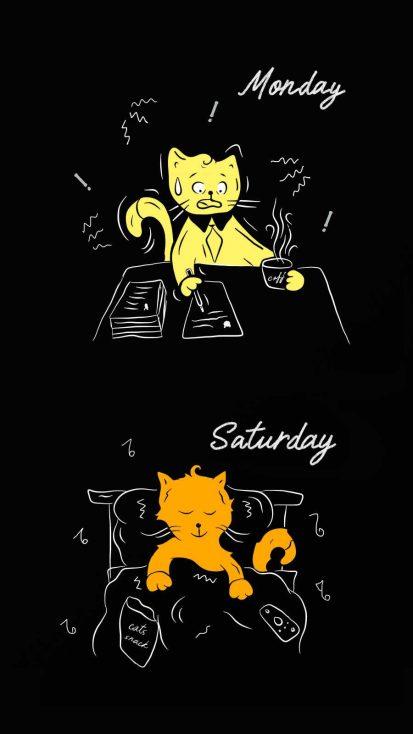 Saturday Monday Mood iPhone Wallpaper