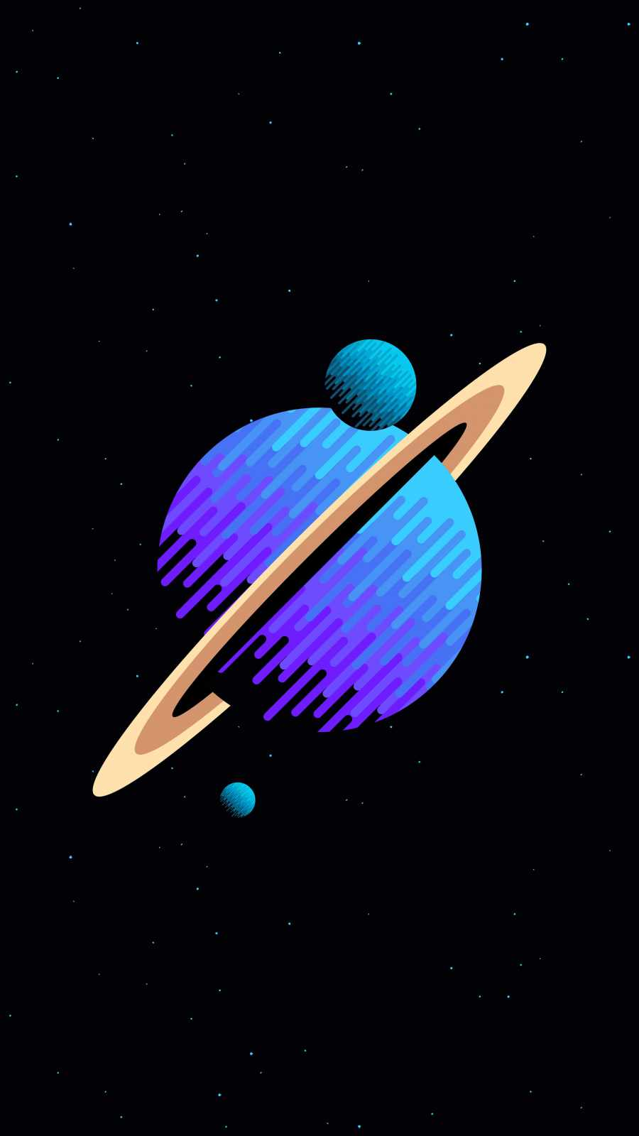 Saturn Planet with Moons