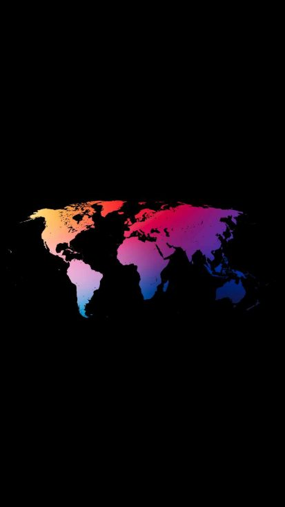 World Map Colorful iPhone Wallpaper