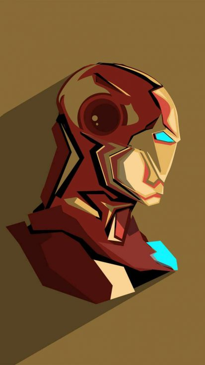 iron man pop head minimalism iPhone Wallpaper
